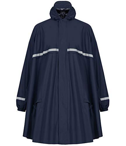 HOCK Regenponcho mit Reissverschluss und Ärmeln - Fahrradponcho Wasserdicht & Atmungsaktiv - Mit Kapuze und Reflektoren - Herren Damen Regenschutz - Hochwertige Regenbekleidung (blau, L)