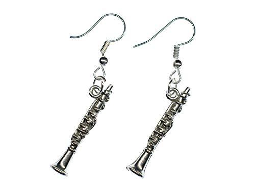 Klarinette Ohrringe Hänger Miniblings Klarinetten Instrument Musik Flöte silber