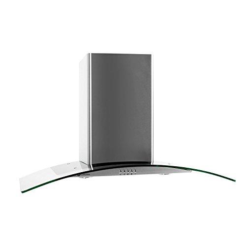 Klarstein GL90WS Cappa Aspirante con rivestimento in vetro e acciaio inox (90 cm, potenza di aspirazione pari a 700 m³/h, 3 livelli di potenza, design accattivante) - argento/ vetro chiaro