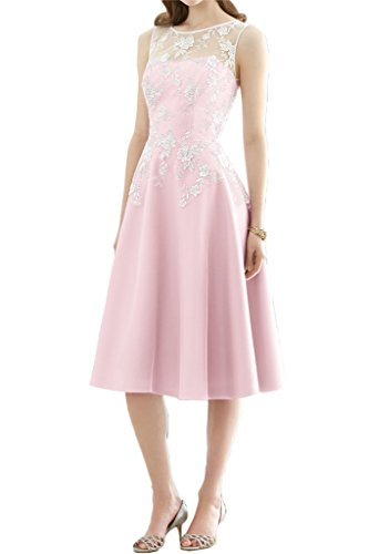 ivyd ressing robe populaire col rond dentelle & satin Prom Party robe a ligne abendklied Rose