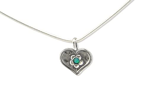Heart shape Silver pendant necklace, Set With blue opal Stone and flower details, complete with 16