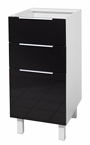 Berlenus ct4bn - mobile da cucina basso, 3 cassetti, 40 cm, colore: nero lucido