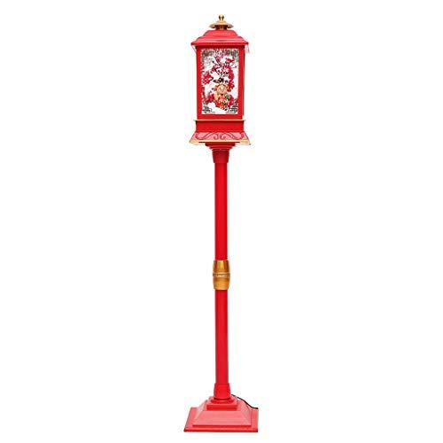 JDGJSF 4,5 Kg LED Weihnachtsbeleuchtung - New Year Snow Street Light Mit Kunststoff - Simulation Schnee-Effekt Und God of Wealth - 22 × 22 × 125 cm - Rot -