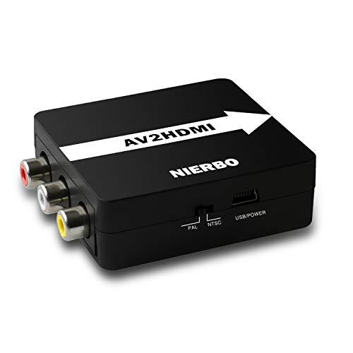 RCA Composite AV zu HDMI Adapter NIERBO Signal Video Audio Konverter Kompatibel mit HDMI PAL / NTSC Unterstützung für PS3 Blu Ray SKY HD Videorekorder Videorecorder DVD HDTV 720P / 1080P Av-signal-konverter