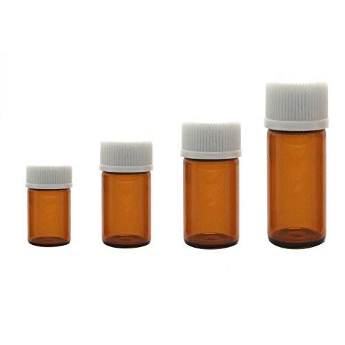 12PCS 1ml/2ml/3ml/5ml Leere Nachfüllbare Amber Glas Ätherische Öl Flasche Parfums Essenz Flaschen Vial Container Pot Tube mit Orifice Reducer und White Cap für Chemie Labor oder Sampling (5ml) Amber Weißen Körper-öl