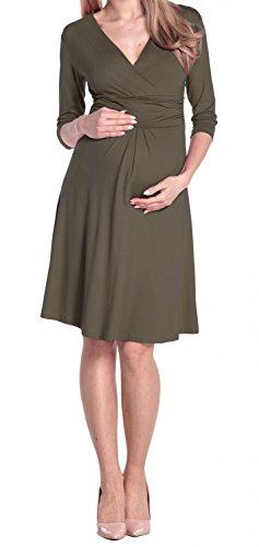 Happy Mama Damen Umstandskleid Festlicher Stretchkleid V-Ausschnitt 282p Khaki