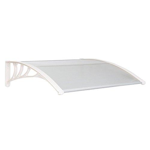 HENGMEI 90x150cm Vordach Haustür Überdachung Haustürvordach Pultvordach Türdach Regenschutz, Transparent Kunststoff, Weiß