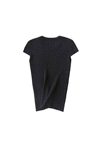 Yacun élasticité manches courtes pull Fit chemise femme Black