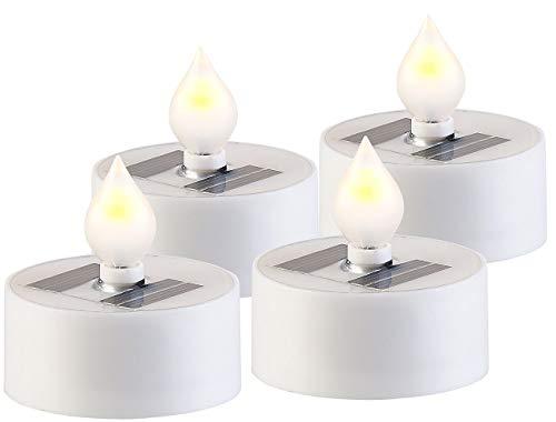 Flamme-sensor (Lunartec Solar Kerze: 4er-Set Solar-LED-Teelichter mit Dämmerungs-Sensor, IP44, weiß (Solar-LED-Kerzen))