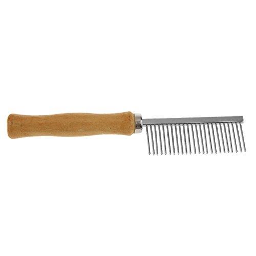 Peigne de Toilettage Broche en Inox Poignée en Bois pour Cheveux Animal  Chien 7df490f4072b