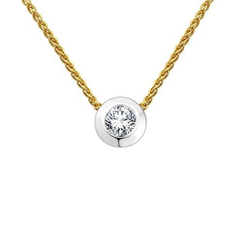 Diamond Line Goldkette mit Diamant-Anhänger 585 Gelbgold mit 1 Brillianten 0.20 ct. lupenrein