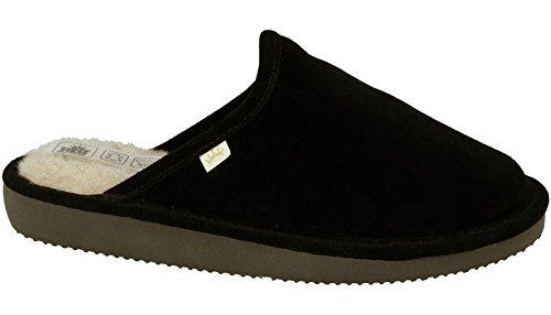 Pantofole per donna di pelle di agnello e di lana naturale in scatola da regalo (opzionale) (37 eu, nero)
