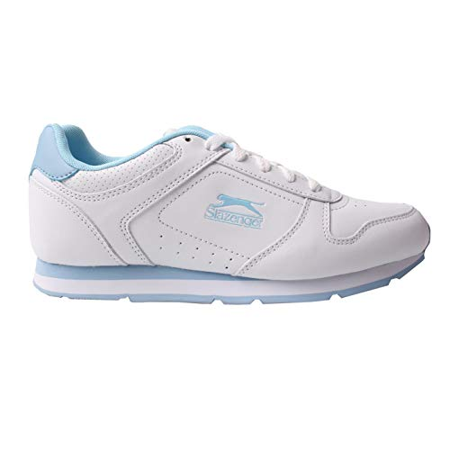 Slazenger Damen Classic Low Top Sneaker Trainingsschuhe Weiß/Pulver Blau 39 EU