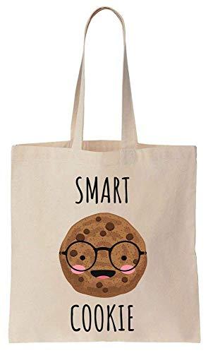 Finest Prints Smart Cookie Pun Design Cotton Canvas Tote Bag -