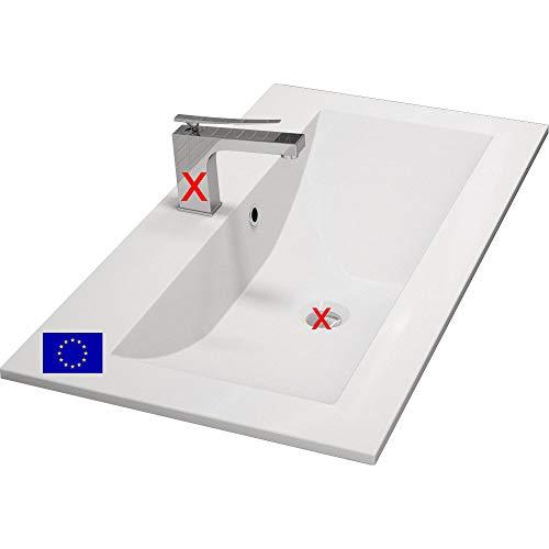 Einbau-Waschbecken 90x45x15cm eckig | 90cm Design-Einbau-Waschtisch | Mineralguss | Qualität MADE IN EU