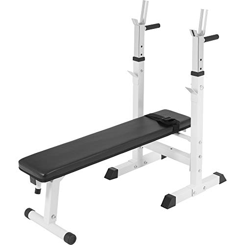 Gorilla Sports Weight Bench with Adjustable Barbell Rack White