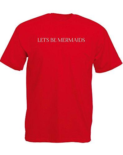 Brand88 - Brand88 - Let's Be Mermaids, Mann Gedruckt T-Shirt Rote/Weiß