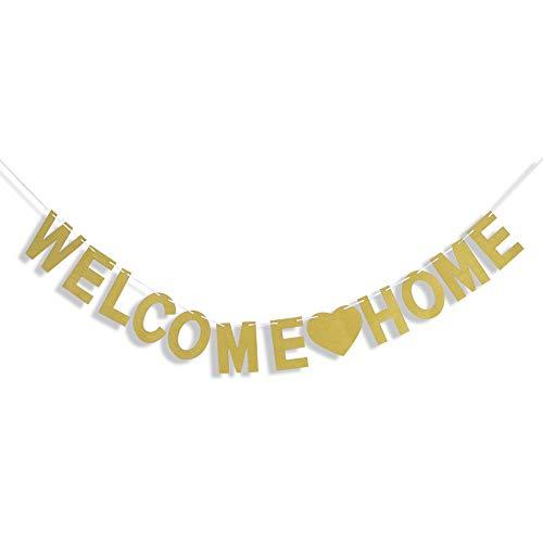 Tagaremuser 2er Pack Willkommen zu Hause Banner Gold Bunting Frohes neues Zuhause Banner Gold Glitter für Family Party Dekorationen (Dekoration Zu Hause)