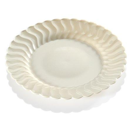 ller aus Hartplastik -robust, Schwarz-Rand in muschelförmigem Porzellandesign-23cm-Einweg oder wiederverwendbar-18Stück. ()
