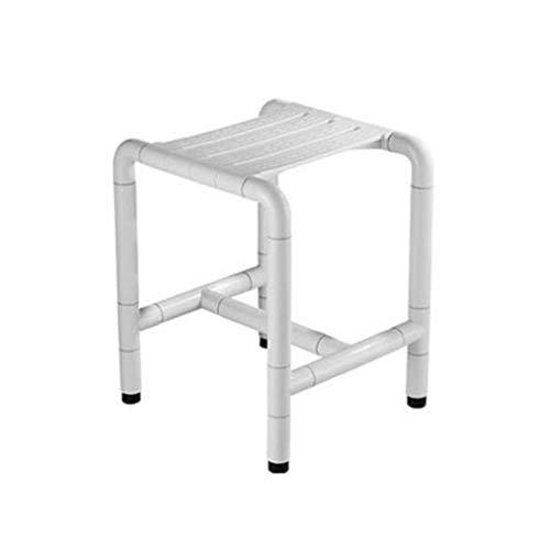 LLRDIAN Badezimmer-Hocker Edelstahl-Badhocker Sitzbadewanne Handläufe Handläufe Anti-Rutsch-Hocker (Farbe : Weiß)