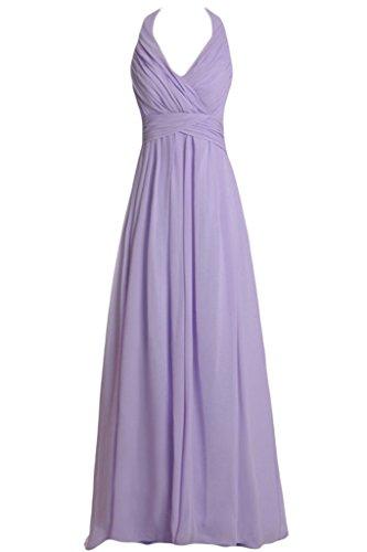 Missdressy Damen Chiffon Lang Neckholder Abendkleid Brautjungfernkleid Ballkleid Lila