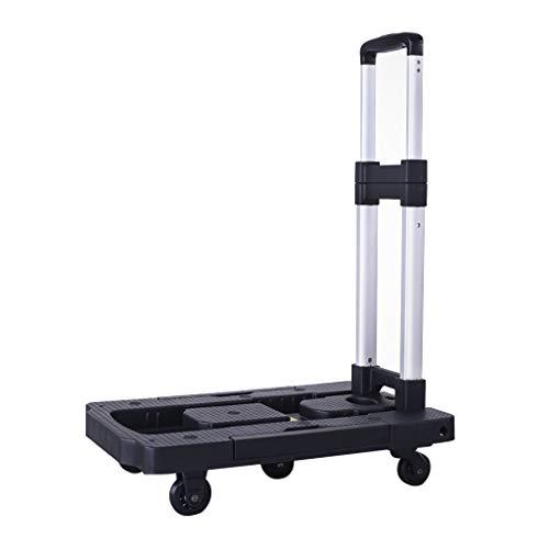 JCX Leichte Handkarren-Sackkarre - zusammenklappbarer Plattformwagen-Transportwagen mit 5 Rädern für Gepäck, Reisen, Einkaufen, Auto, Umzug und Büro -