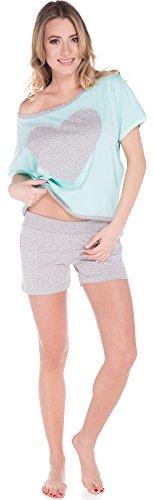 Italian Fashion IF Pyjama Femme Lorin 0227 Pistache/Melange