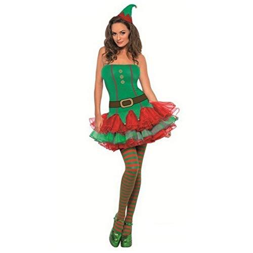 XDDQ Costume da Donna Natalizio,Costume Natalizio Christmas Sexy,Vestito Sexy da Natale Natale Ragazza Costume Cosplay Gioco Uniforme Verde