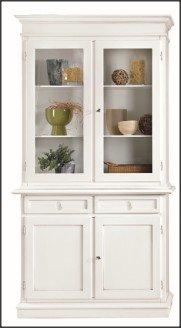 L'Ecrin Arredamenti, cristalliera/vitrine 4 Portes 2 tiroirs laqué Blanc w1383/L