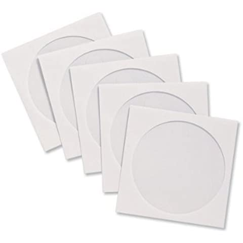 300x alto grado de color blanco CD/DVD/BluRay Funda de discos de papel Sobres con ventana transparente por