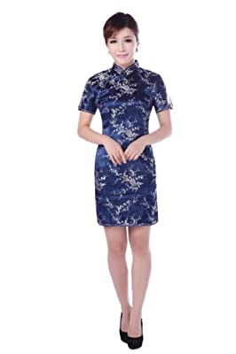 JTC Women Cheongsam Short Sleeve Slim Chinese Dress Slit Skirt Costume Wedding Prop Outfit 7colors