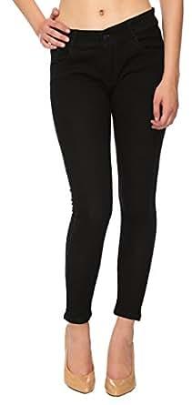 FOURGEE Women's Skinny Jeans (BLKSPY1--26, Black, 26)