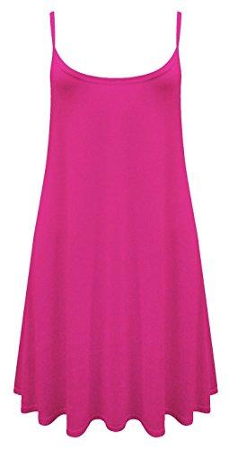 Damen Maxikleid, ärmellos Cami Strappy Lang Swing Vest Top Mini Kleid Plus Größe Kirschrot