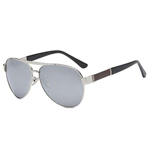 QQBL Männer und Frauen Allgemeine Paar Harz Metall UV400 Polarisierte Sonnenbrille,White