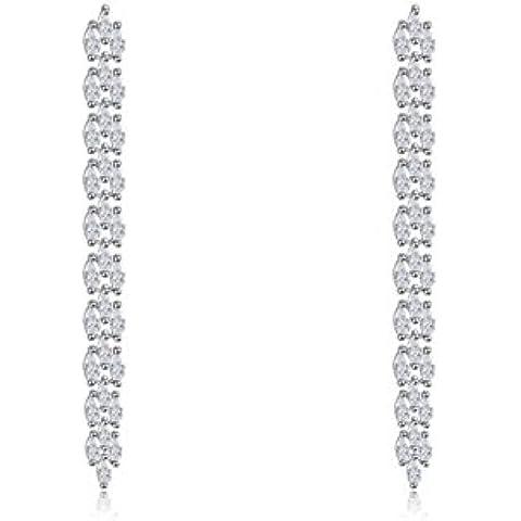 Donna Delicate Platinum/18ct placcato oro rosa verde/bianco grano orecchini pendenti