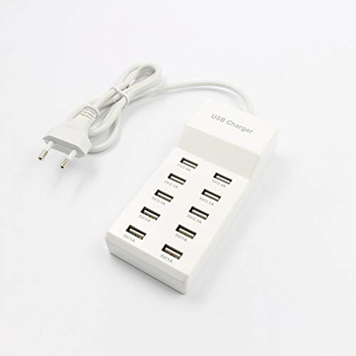 Nichino 10 Ports USB Hub Fast Charging Power Adapter Wall Travel Desktop Charger Hub DC 5V for Smartphones Tablets Compact Power Adapter