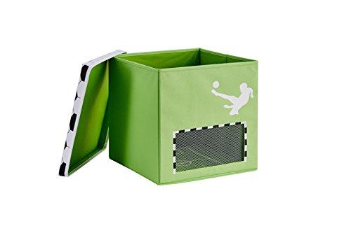 STORE.IT Spielzeugkiste mit magnetischem Tornetz, Fußball, 33x33x33cm, grün, GOOOAL, MDF verstärkt