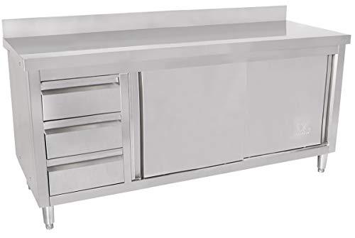 Edelstahl-küche-schränke (Beeketal 'BAS180-70L' Gastro Edelstahl Küchenschrank mit 3 Schubladen (links), 2 Rolltüren und 4 verstellbaren Standfüßen, Küchen Arbeitsplatte mit 10 cm Aufkantung - (L/B/H) ca. 1800 x 700 x 950 mm)