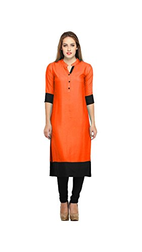 kurta (Vipul Women's Branded Orange & Black Casual Wear Cotton Free Size Kurti (Best Gift For Mummy Mom Wife Girl Friend, Offers and Sale Discount) )  available at amazon for Rs.177