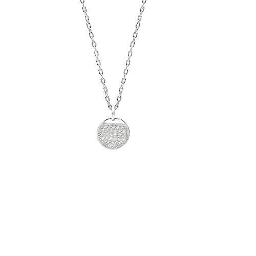 WL Halskette S925 Sterling Silber Halskette Koreanische Version des Weiblichen Tennisschlägers Runden Anhänger Schlüsselbein Kette Schmuck