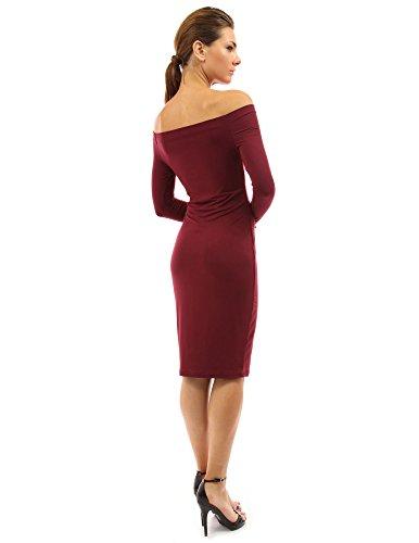 PattyBoutik Damen schulterfreies Kleid mit langen Ärmeln Burgund