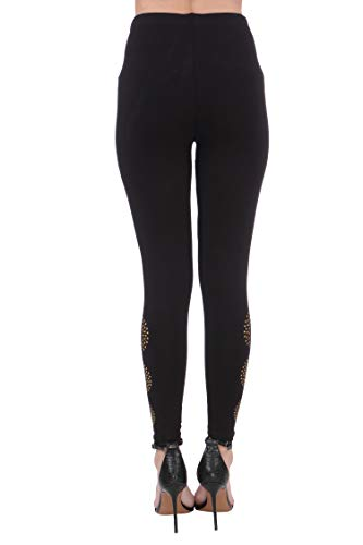 Plus Size Women'S Black With Golden Connecting Dots Leggings(Plussize_Black_Print_P13_30_Black With Golden Connecting Dots_L (30-32 Inches))