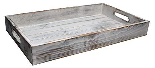 khevga Servier-Tablett Holz Vintage weiß Shabby chic