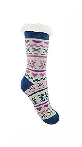 Ladies Co-Zees Chunky Thermal Fluffy Fleece Lined Fair Isle Heart Slipper Socks - Cream & Pink