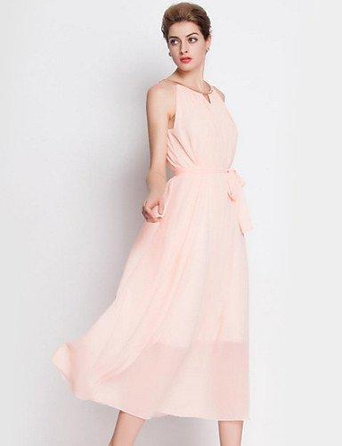 PU&PU Robe Aux femmes Gaine Street Chic,Couleur Pleine Col Arrondi Midi Coton / Polyester PINK-M