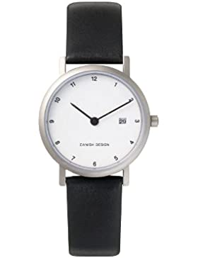 Danish Design Damen-Armbanduhr Analog Leder schwarz DZ120006