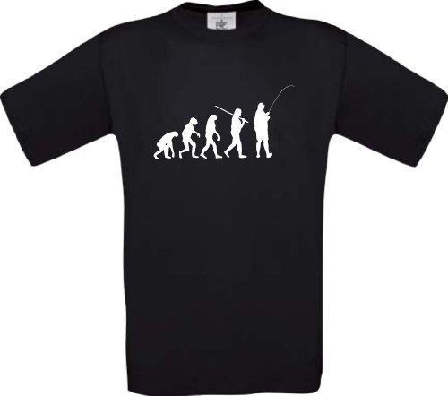 Shirtinstyle T-Shirt Evolution Angeln Fischen Fischer Fishing Hunter Evo Kultstyle, Farbe schwarz, Größe L