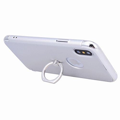 Yokata Cover per iPhone X Placcatura Custodia per iPhone X gel Silicone Case Durevole PC Backcover Protettiva Caso Premium Ultra Sottile Protezione Shell con Ring Stand + Penna - Nero Argento