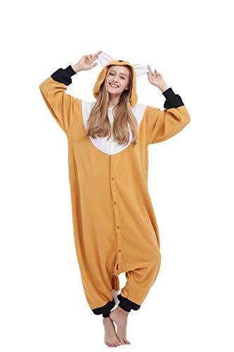 Fandecie Tier Kostüm Tierkostüm Tier Schlafanzug Orange Fuchs Pyjamas Jumpsuit Kigurumi Damen Herren Erwachsene Cosplay Tier Fasching Karneval Halloween (Orange Fuchs, M:Höhe 160-169cm)