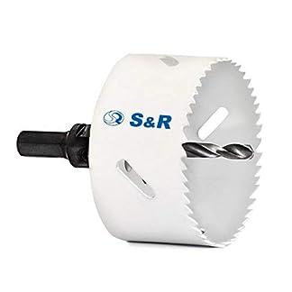 S&R Sierra de Corona Perforadora bimetálica + adaptador rapido HEX + Broca de cetramiento. Para madera, acero, metal, hierro fundido, plástico, paneles de yeso. MADE IN GERMANY